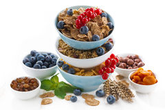 Assortment of breakfast cereal in bowls, dried fruit Royalty Free Stock Image