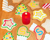 Assortment of bright, colorful Christmas cookies Royalty Free Stock Images