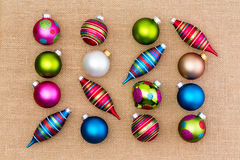 Assortment of bright colorful Christmas ornaments Stock Photo