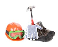Assortment of building accessories. Royalty Free Stock Photos