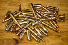 Assortment of bullets on a table Royalty Free Stock Photos
