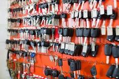 Assortment of car key duplicates at display Stock Photo