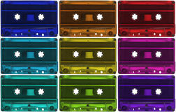 Assortment of cassette tapes. Multicoloured set of 9 plastic cassette tapes stock photos