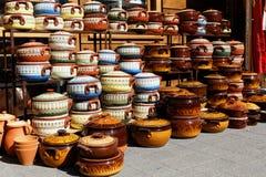 Assortment of ceramic pots Royalty Free Stock Photos