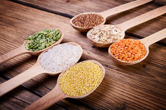 Assortment of cereals close-up Royalty Free Stock Image