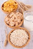 Assortment of cereals. And milk Royalty Free Stock Photography
