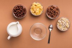 Various careals for breakfast in glass bowls, top view royalty free stock photos