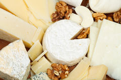 Assortment of cheeses on wooden plate Royalty Free Stock Photos