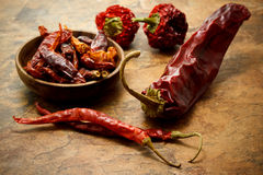Assortment of chili peppers Royalty Free Stock Photography