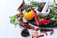 Assortment of chili peppers and herbs Royalty Free Stock Photography