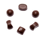 Assortment of chocolate candies isolated Stock Photos