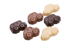 Assortment of chocolate cars, isolated on white Royalty Free Stock Images