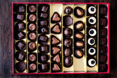 Assortment of Chocolate pralines in box Stock Image