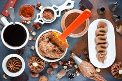 Assortment of chocolate products for cooking delicious chocolate Stock Photos