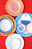 Assortment of circular plates and saucers Stock Photography