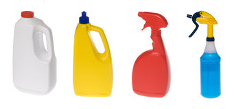 Assortment of cleaning bottles Royalty Free Stock Images