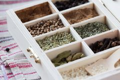 Assortment collection of spices and herb in wooden box, food Stock Photography