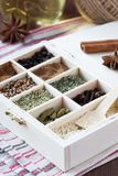 Assortment collection of spices and herb in wooden box, food Royalty Free Stock Image