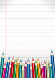 Assortment of color pencils on white paper. Beautiful illustration of colored pencils, paper texture, ideal for homework or school-related topics, posters, cards Royalty Free Stock Image