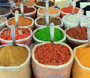 Assortment of color powder spices Royalty Free Stock Photo