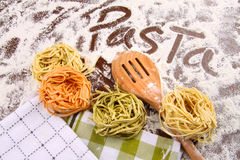 Assortment of colored italian pasta stock image