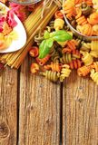Assortment of colored pasta Stock Photography