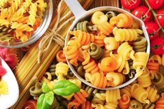 Assortment of colored pasta Royalty Free Stock Photography