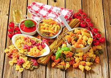 Assortment of colored pasta Stock Images
