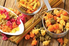 Assortment of colored pasta Stock Photo