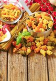 Assortment of colored pasta Stock Image