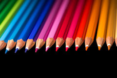 Assortment of colored pencils.. Color pencils in arrange. Royalty Free Stock Image