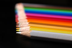 Assortment of colored pencils.. Color pencils in arrange. Royalty Free Stock Photography