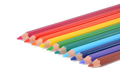 Assortment of colored pencils over white Royalty Free Stock Photos