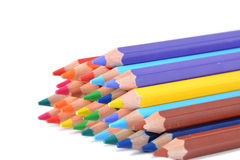 Assortment of colored pencils over white Royalty Free Stock Images
