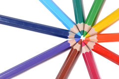 Assortment of colored pencils over white Stock Photo