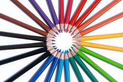 Assortment of colored pencils with shadow Royalty Free Stock Photo