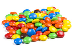 Assortment of Colorful Chocolate Candies on White Stock Photos