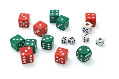 Assortment of colorful dice. On white background Royalty Free Stock Image