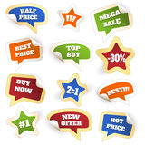 Assortment of Colorful Discount Sale Tags Stock Photography