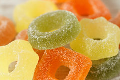 Assortment of colorful fruit jelly candies Royalty Free Stock Photos