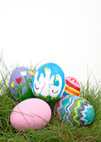 An assortment of colorful hand painted Easter eggs Stock Images