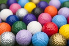 Mini Golf Balls in Assorted Colors royalty free stock photo