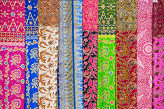 Assortment of colorful sarongs for sale, Island Bali, Ubud, Indonesia Stock Image