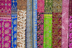 Assortment of colorful sarongs for sale, Island Bali, Ubud, Indonesia Royalty Free Stock Images