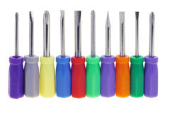 Assortment of colorful screwdrivers Royalty Free Stock Image