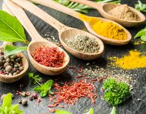 Assortment of colorful spices. stock photos