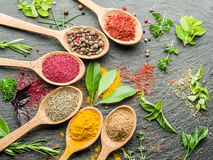 Assortment of colorful spices in the spoons. Assortment of colorful spices in the wooden spoons Stock Image