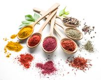 Assortment of colorful spices in the wooden spoons. Stock Photos