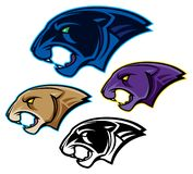 Panther or Cougar Head Mascots stock illustration