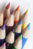 Assortment of coloured pencils. Isolated on white Stock Image